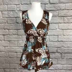 BCBG MaxAzria Brown Floral Babydoll Sleeveless Top